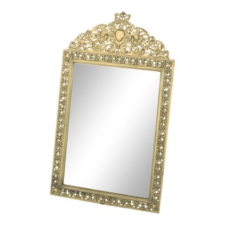 Early 20th Century English Gilt Brass Framed Beveled Vanity Mirror For Sale