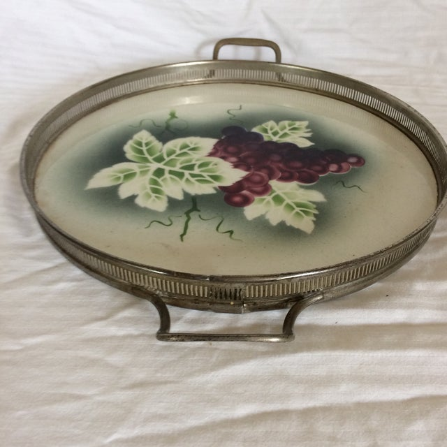 Traditional German Porcelain Silver Plated Serving Tray & Coasters - Set of 9 For Sale - Image 3 of 11