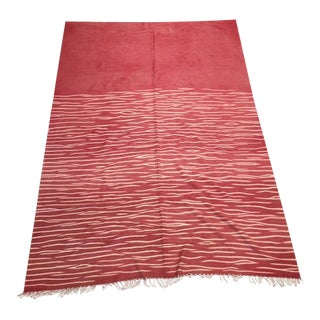 Red & White Kilim Style Rug- 8′8″ × 12′3″ For Sale
