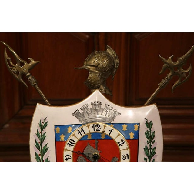 French 19th Century French Porcelain & Brass Desk Clock With Paris Coat of Arms For Sale - Image 3 of 7