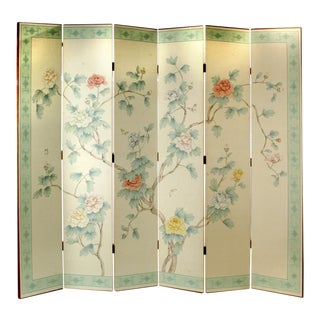 Early 20th Century Gracie Style Six Panel Folding Screen For Sale