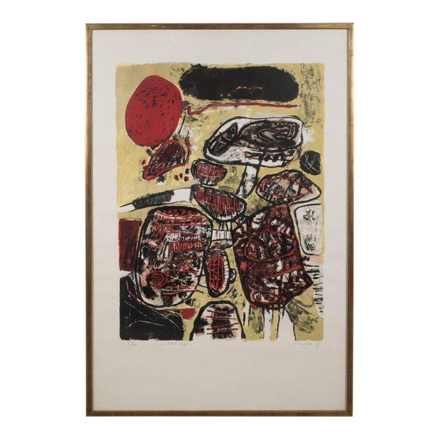 """""""Le Soleil Rouge"""" Lithograph Printed in Colors, 1963 For Sale"""