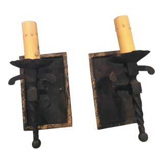 Rustic Iron Sconces with Gilt Trim - a Pair For Sale