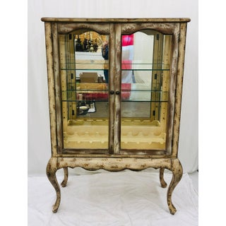 Vtg Queen Anne Style Glass Cabinet Etagere Preview