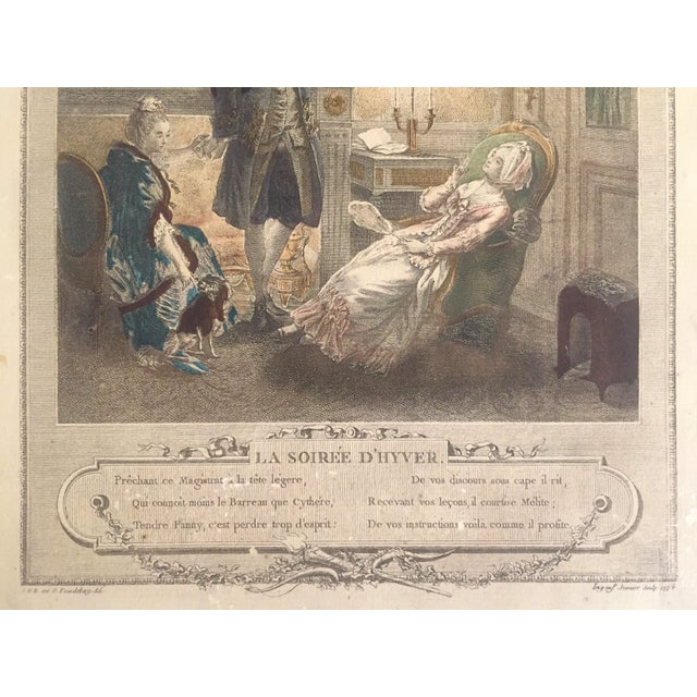 """White Rare Antique 1774 Freudenberger """" La Soiree D' Hyver """" Hand Painted French Engraving Art Print For Sale - Image 8 of 11"""