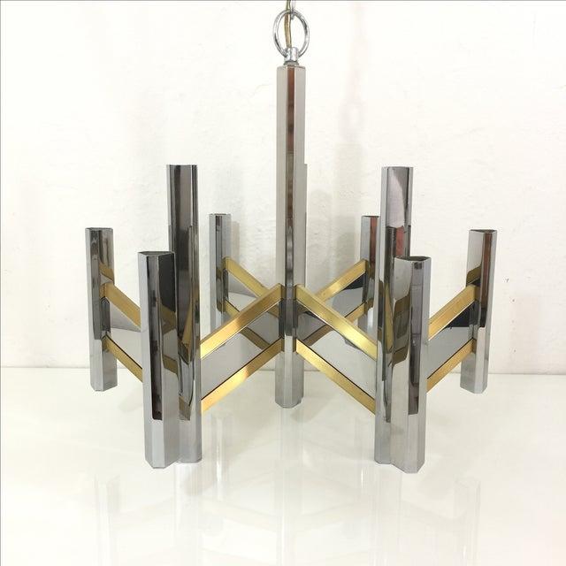 Sciolari Brass and Chrome 12 Bulb Chandelier - Image 2 of 10