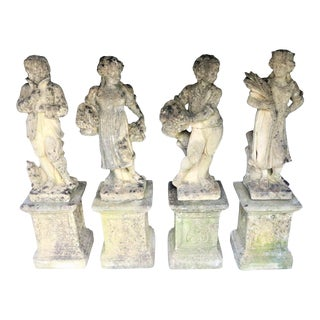Early 20th Century French Cast Stone Statues of the Four Seasons, Set of 4 For Sale