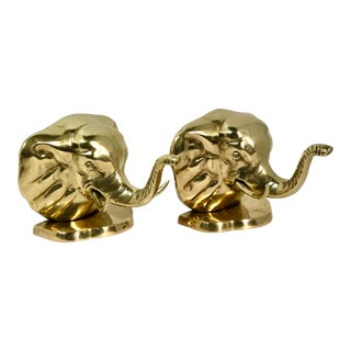 Solid Brass Elephant Bookends - A Pair For Sale