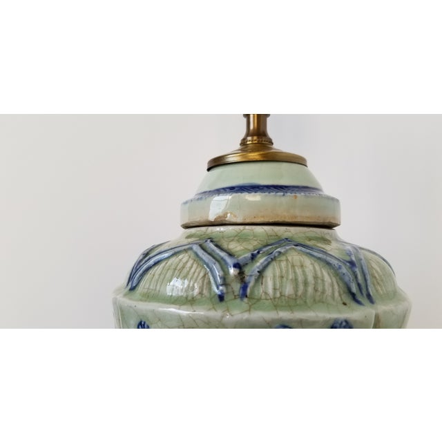 Antique Chinese Celadon Ginger Jar Lamp For Sale In New York - Image 6 of 9