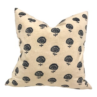 Contemporary Navy Floral Printed Cotton Pillow For Sale
