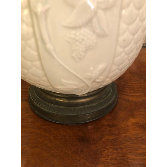 1940s Vintage Chinese White Ceramic Table Lamps- A Pair For Sale - Image 4 of 8