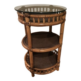 Boho Chic Bamboo Table With Glass Top For Sale