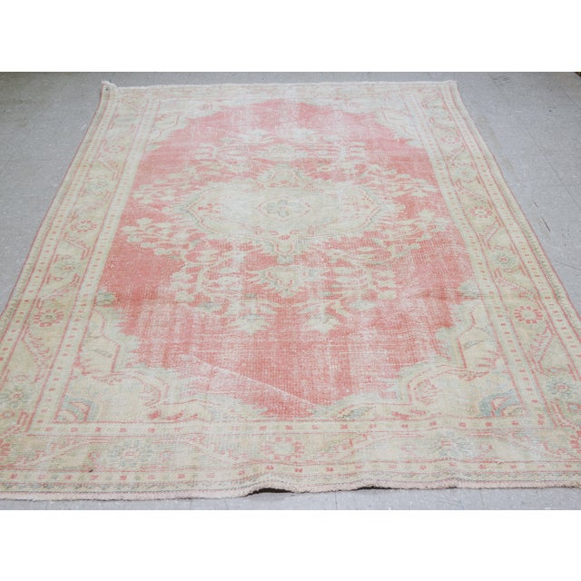 Vintage Turkish Oushak hand knotted rug with natural colors and fine weave.