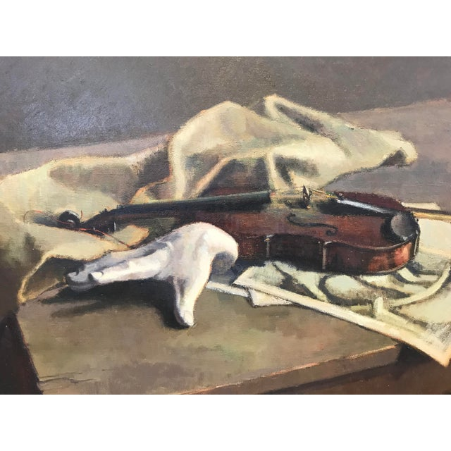 Modern gothic oil on canvas by Foster Caddell of a violin and white hand. Framed in gray painted wood. Featured in the...
