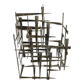 Mid Century Metal Sculpture For Sale