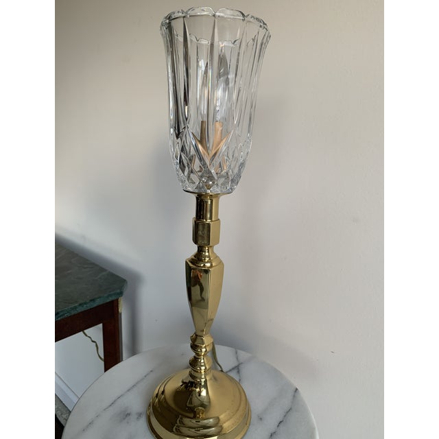 Brass Vintage Mid 20th Century Brass Plated Metal Candlestick and Cut Crystal Glass Table Lamp For Sale - Image 8 of 8