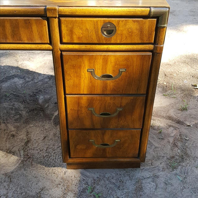 1960s Drexel Campaign Style Desk - Image 7 of 10