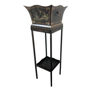 Chinoiserie Hand-Painted Planter & Stand by Chelsea House For Sale