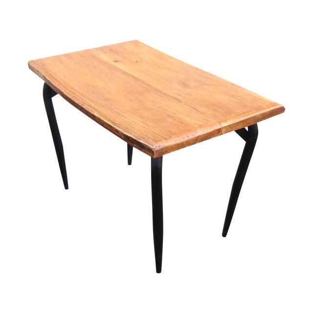 Natural Wooden Slab Table with Black Steel Base For Sale