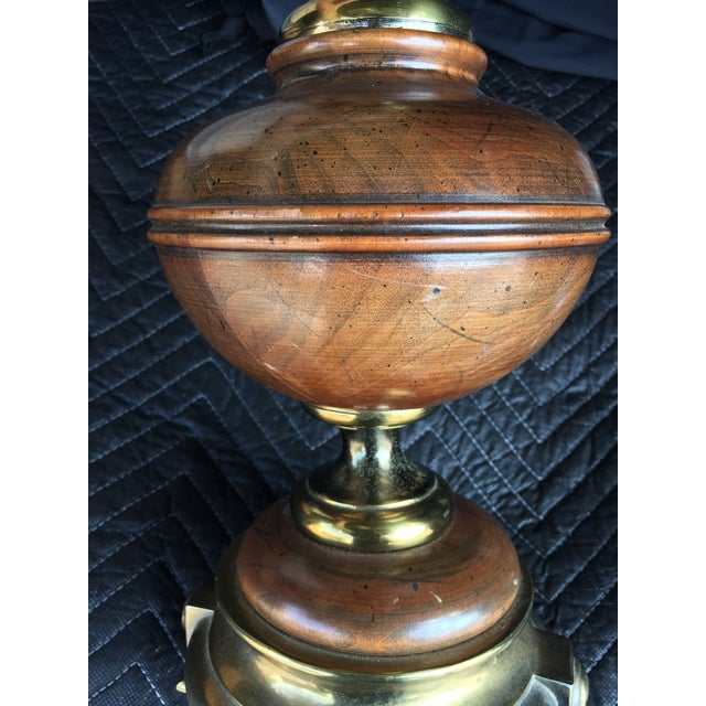 Mid 20th Century Mid-Century Wood & Brass Finish Style Lamp With Shade For Sale - Image 5 of 9