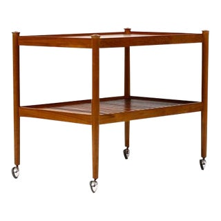 1960s Danish Modern Teak Bar Cart For Sale