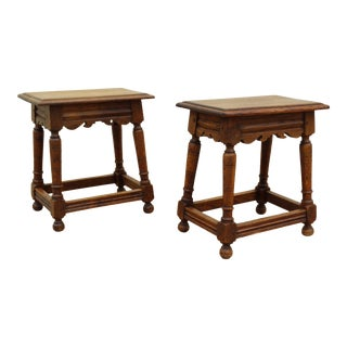 19th-C English Oak Stools, a Pair For Sale