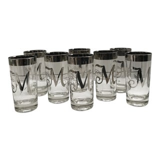 "Dorothy Thorpe Intial ""M"" Tall Glasses - Set of 8 For Sale"
