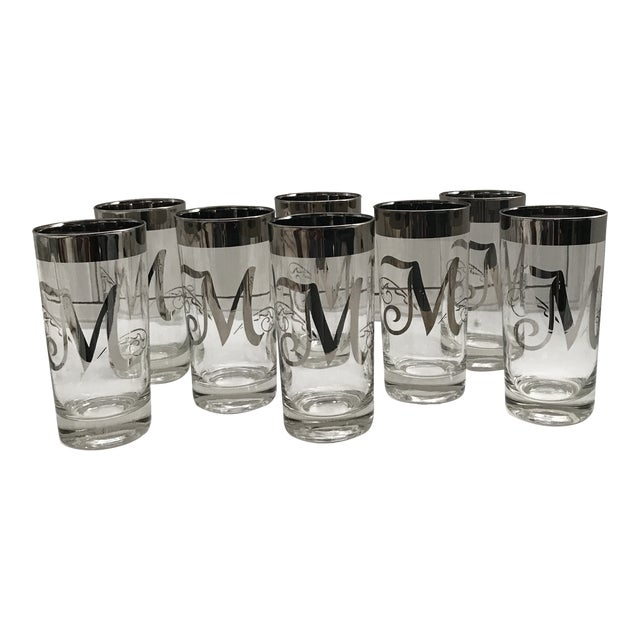 """Dorothy Thorpe Intial """"M"""" Tall Glasses - Set of 8 For Sale"""