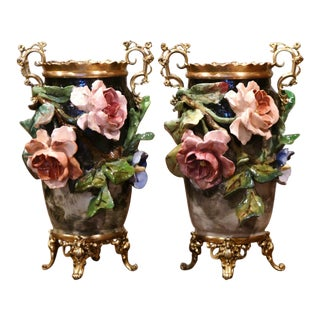 19th Century French Faience and Brass Barbotine Vases With Floral Decor - a Pair For Sale