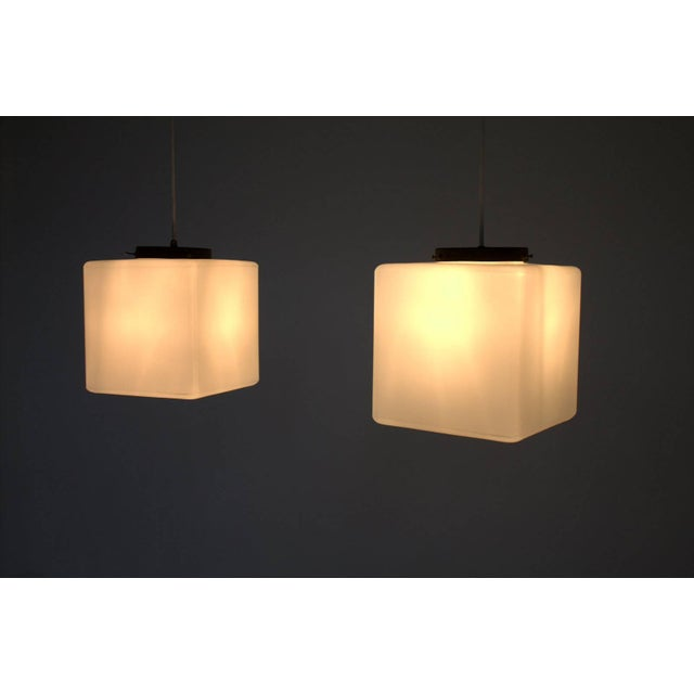 """Set of two """"flying Glass Cubes"""" Pendants by Stilnovo, Italy. Very good condition. Worldwide shipping."""