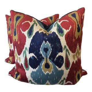 "Ikat in Multi 22"" Pillows-A Pair For Sale"