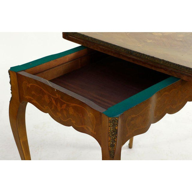 Bronze 19th Century French Louis XVI Style Marquetry Game Table For Sale - Image 7 of 8