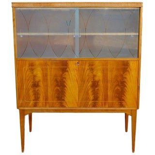 1940s Swedish Art Moderne Flame Mahogany Dry Bar For Sale