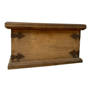 Rustic Wooden Foot Trunk with Hand Forged Hinges For Sale