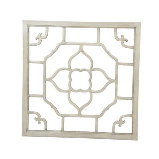 """Ivory Lacquered Floral Screen - 30"""" x 30"""""""