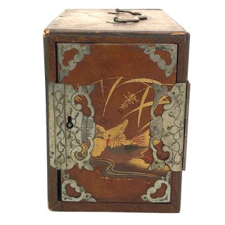 20th Century Japanese Lacquered Box With Interior Drawers For Sale