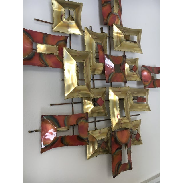 Mid 20th Century 20th Century Brutalist Brass and Copper Wall Sculpture For Sale - Image 5 of 10