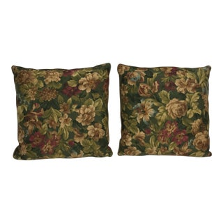 Custom Floral Cotton Satin Feather Pillows - A Pair For Sale
