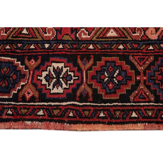 "Red Vintage Persian Heriz Handmade Wool Rug, 7'9"" X 10'3"" For Sale - Image 8 of 10"