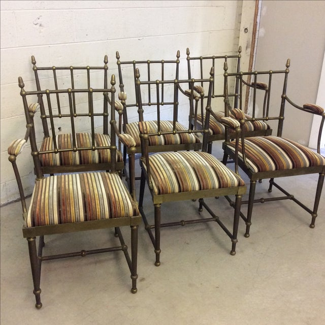 These are a conversation piece! These would be beautiful reupholstered in a blue velvet and polished. The brass is heavily...