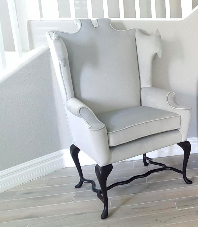 white wingback chair. Documented Arturo Pani White Wingback Chair - Image 7 Of 8