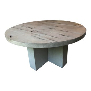 Transitional Restoration Hardware Concrete Pier Round Dining Table For Sale