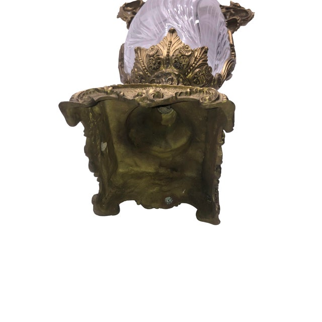 Bronze French Sculptured Bronze Crystal Vase For Sale - Image 8 of 9
