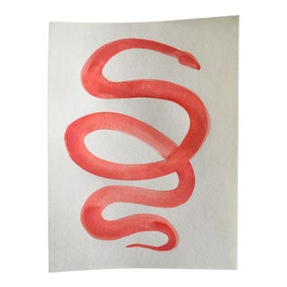"""Red Snake"" Original Watercolor Painting"