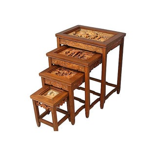 Antique Carved Asian Nesting Tables - Set of 4
