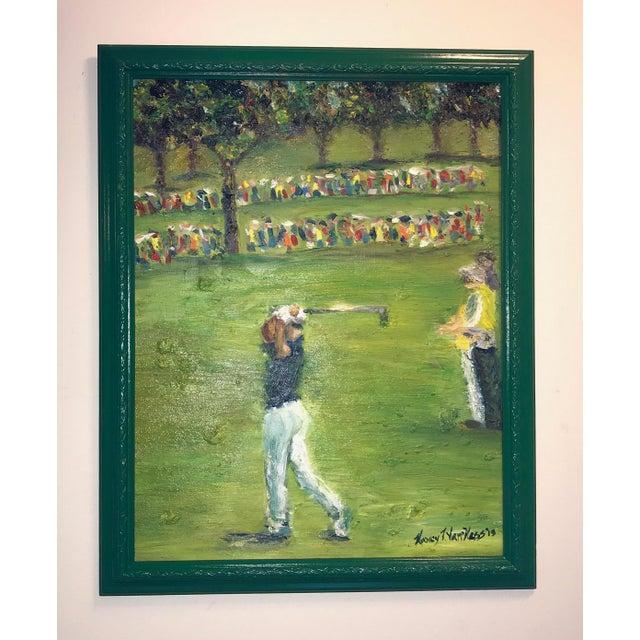2010s Tiger Woods Pga Golf Original Framed Oil Painting Signed Art For Sale - Image 5 of 10