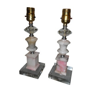 Antique Alabaster Table Lamps - A Pair For Sale