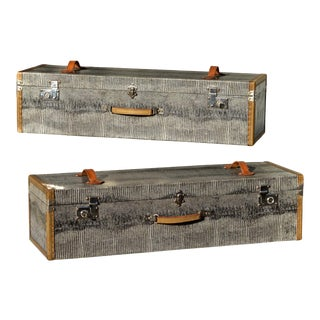 French Travel Cases in Faux Crocodile Shagreen - A Pair