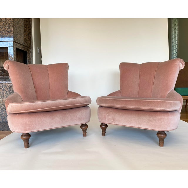 1940's Vintage Pink Easy Lounge or Slipper Chairs in Velvet - a Pair For Sale In Los Angeles - Image 6 of 10