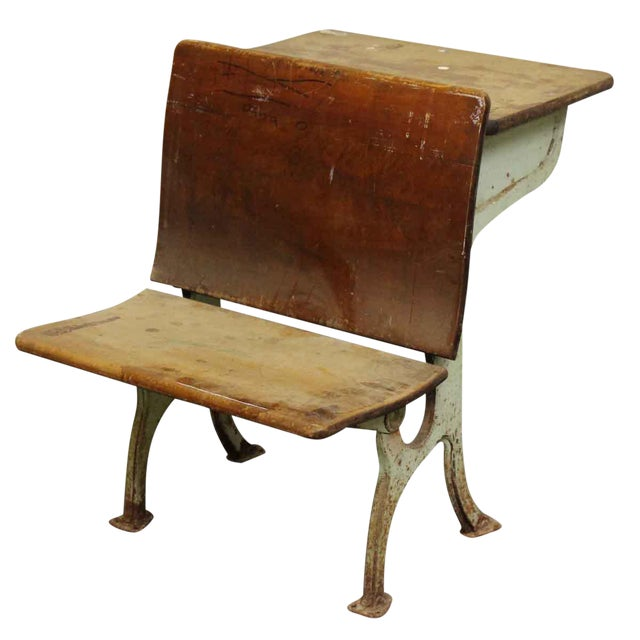 Vintage School Desk Chair Chairish, Wooden School Desk And Chair
